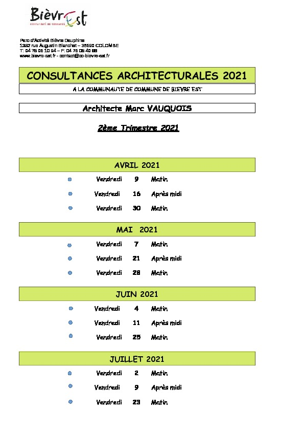 PERMANENCES ARCHITECTURALES CCBE
